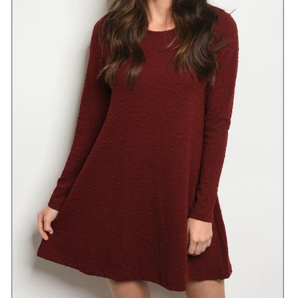 d557c90ad4fd Wine Long Sleeve Textured Fall Dress